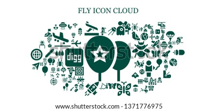 fly icon set. 93 filled fly icons.  Simple modern icons about  - Balloons, Parrot, Ufo, Arrival, Sputnik, Pigeon, Butterfly, Fishing, Rocket, Paper plane, Parasite, Bird, Dragonfly