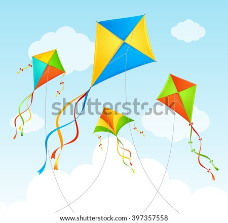 Fly Kite and Clouds on a Blue Sky. Summer Background. Vector illustration ストックフォト ©