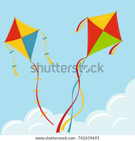 fly kite in sky  color kites