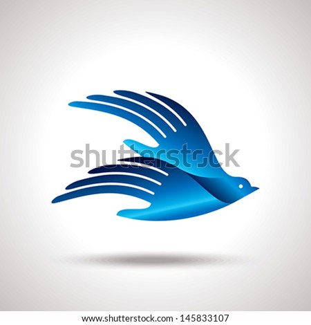 fly of bird to hand creative idea
