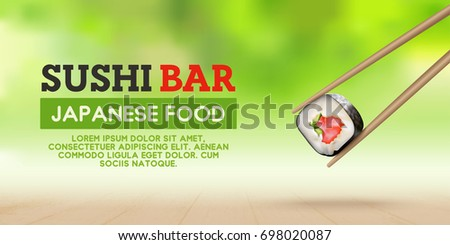 Flyer, banner japanese food. Realistic background of sushi. Vector illustration