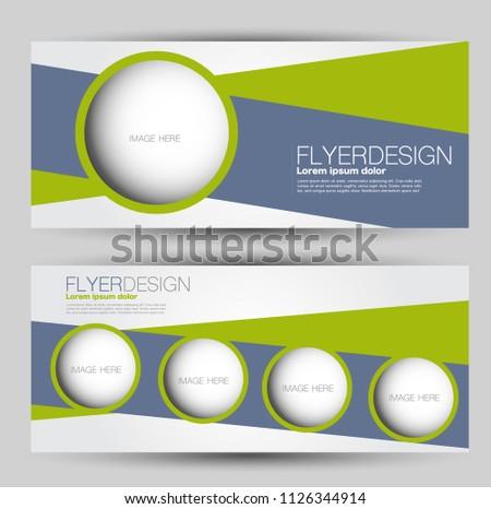 Flyer banner or web header template set. Vector illustration promotion design background. Green and grey color.