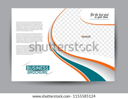 Flyer, brochure, billboard template design landscape orientation for business, education, school, presentation, website. Green and orange color. Editable vector illustration.