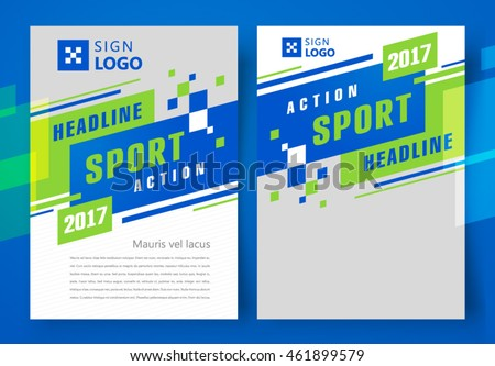 Flyer brochure design, business flyer size A4 template, action sport headline, stripes and squares, set