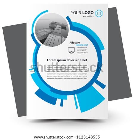 Flyer brochure design geometric circles theme blue color