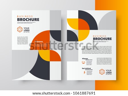 Flyer brochure design template business cover geometric theme circles yellow color