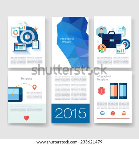 Flyer Brochure Design Templates set Geometric Triangular Abstract Modern Backgrounds Mobile Technologies Applications and Infographic Concept