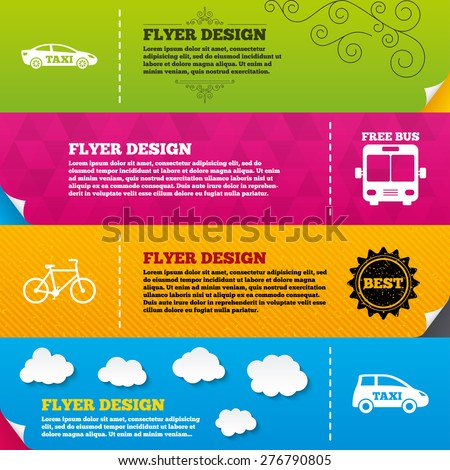 Flyer brochure designs. Public transport icons. Free bus, bicycle and taxi signs. Car transport symbol. Frame design templates. Vector