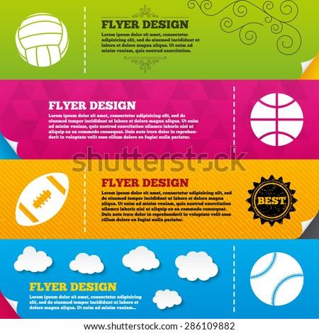 Flyer brochure designs. Sport balls icons. Volleyball, Basketball, Baseball and American football signs. Team sport games. Frame design templates. Vector