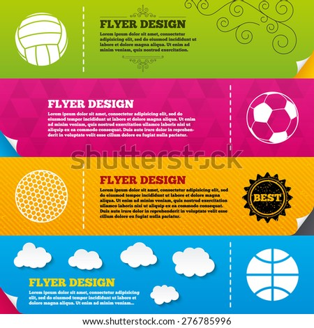 Flyer brochure designs. Sport balls icons. Volleyball, Basketball, Soccer and Golf signs. Team sport games. Frame design templates. Vector