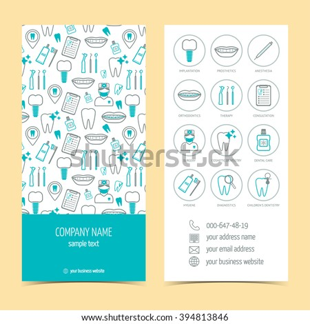 Flyer, brochure for dental clinic. Set of promotional products. Flat design. Vector illustration