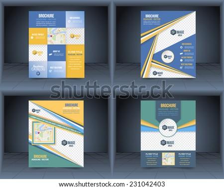 Flyer Business Brochure Catalog Cover Vector Design Template Set