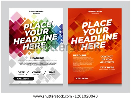 Flyer design invitation template. Can be adapt to Brochure, Annual Report, Magazine, Poster. - Vector #1281820843