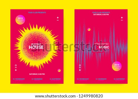 Flyer for Dance Event. Techno Sound Performance Wave Poster. Vector Music Equalizer Concept. Amplitude of Distorted Dotted Lines. Promotion of Night Event. Music Poster for Announcement of Dj Event.