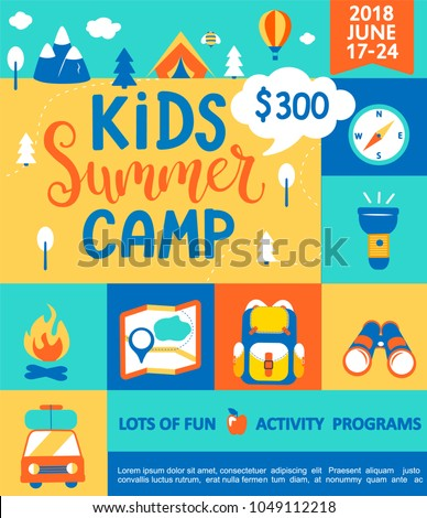 Flyer for the Kids Summer camp, concept with handdrawn lettering,Camping and Travelling on holiday with a lot of camping equipment such as tent, backpack and others in flat style,vector illustration.