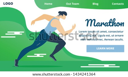 Flyer Invitation is Written Marathon Cartoon. Discipline Athletics Program for Men. Male Athlete Runs Race at Distance. Marathon Competitions are Held on Highway. Vector Illustration.