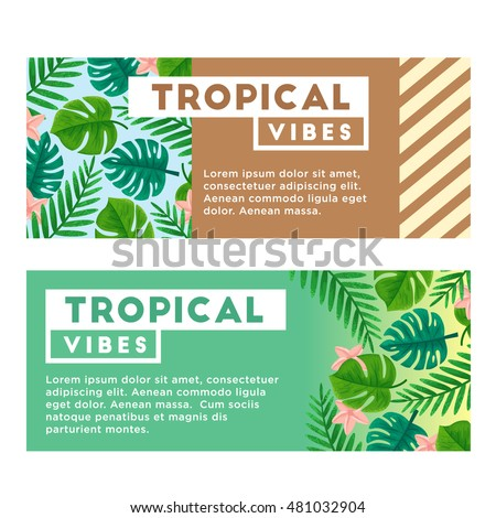 Flyer, invitation or card design with exotic tropical leaves. Vector