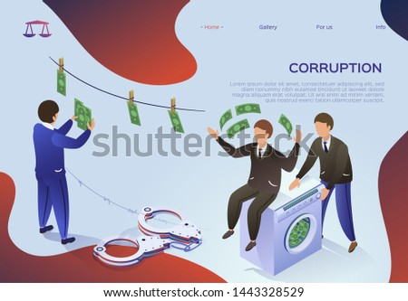 Flyer is Written Corruption, Money Laundering. Flat Man Sits on Washing Machine, in Which Money is Washed. An Official in Suit Hangs Bills to Dry. Personal Gain Vector Illustration.