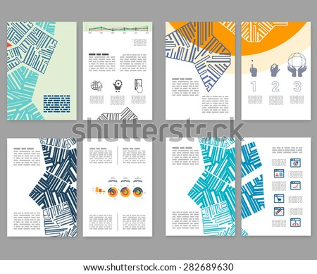 flyer leaflet booklet layout set editable design template a4 2 fold brochure with abstract. Black Bedroom Furniture Sets. Home Design Ideas