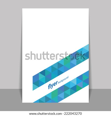 Flyer or Cover Design with Triangle Mosaic Pattern - Blue and Green