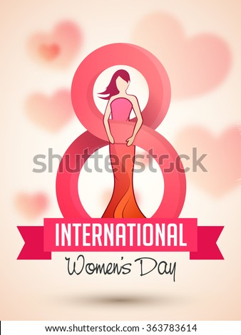 Flyer or Pamphlet with stylish text 8 March and illustration of young girl for Happy International Women\'s Day celebration.