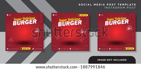 Flyer or Social Media Post Template Themed Food With Simple and looks Modern Concept and Bundle Set