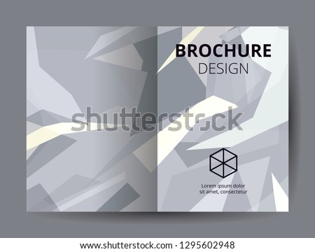 d95dc120d69f37 Flyer template A4 size dark blue low polygon color theme background. Dark  gray company logo