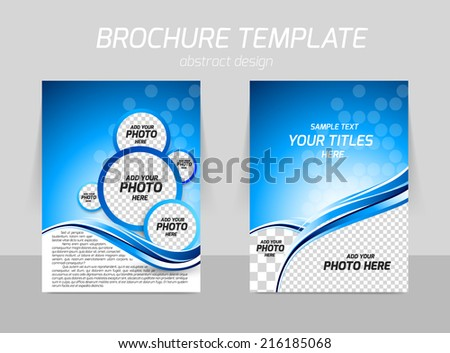 Flyer template back and front design with wave in blue color and circles
