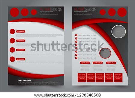 Flyer template. Brochur design for a business, education, advertisement. A4 poster layout Vector illustration. Black and red color.