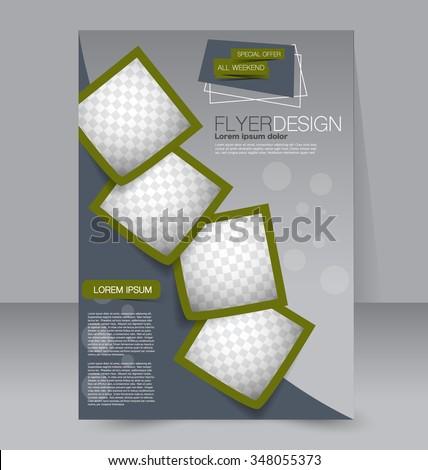 Flyer template. Brochure design. Editable A4 poster for business, education, presentation, website, magazine cover. Green color.