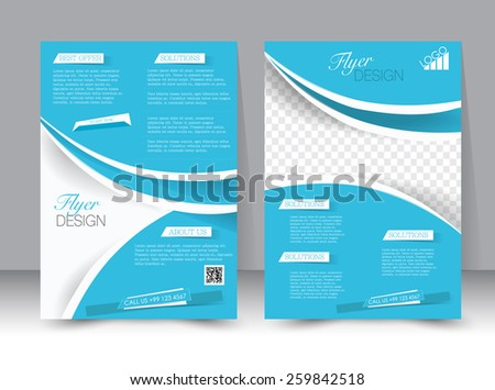 Flyer template. Business brochure. Editable A4 poster for design, education, presentation, website, magazine cover. Blue and silver color.