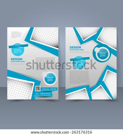 Flyer template. Business brochure. Editable A4 poster for design, education, presentation, website, magazine cover. Blue color. #263176316
