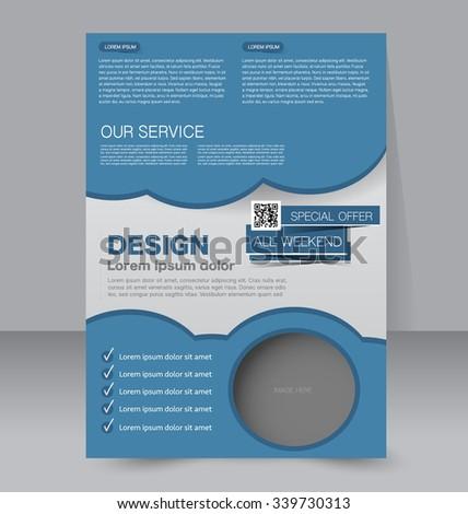 Flyer template design. Business brochure poster. Book cover for education, presentation, website, magazine.  Blue color. Editable vector illustration. #339730313