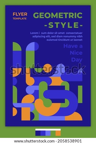 Flyer Template Geometric Style Design Idea With Jelly Pipeline Color Palette. Suitable for cover, poster, banner, template, flyer, brochure, wallpaper, web design, etc.