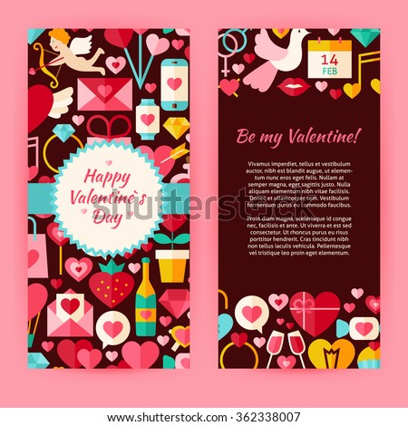 Flyer Template of Happy Valentine Day Objects and Elements. Flat Style Design Vector Illustration of Brand Identity for Wedding Promotion. Colorful Pattern for Love Advertising.