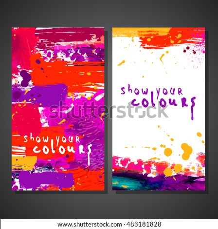 Flyer template or invitation with paint abstract background.