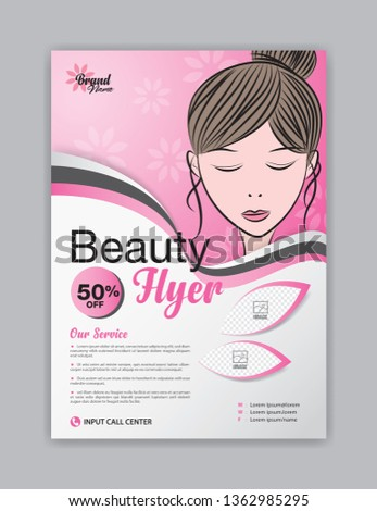 Flyer template with beautiful woman vector for cosmetics, Beauty ads, Magazine ad layout, poster, leaflet, salon, brochure, spa, advertisement, cover design, creative idea, banner, billboard