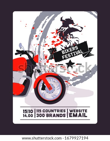 Flyer with contact, biker festival and motorshow flat vector illustration. Design for web poster, banner, test and gift card. Red bike, wolf logo, template, brush background.