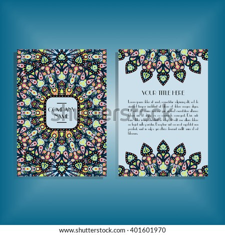 Flyer with green, pink, bue round mandala pattern and ornament. Oriental flyer mock-up, floral card design layout template. Size A5. Front and back sides. Editable and movable objects. EPS 10.