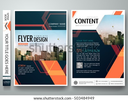 Flyers design template vector. Abstract blue cover book portfolio engineering presentation. Orange hexagon. Brochure report business magazine poster. City concept in A4 layout