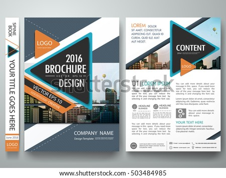 Flyers design template vector. Brochure report business magazine. Abstract orange cover book portfolio presentation. Flat blue triangle on poster. City concept in A4 layout.