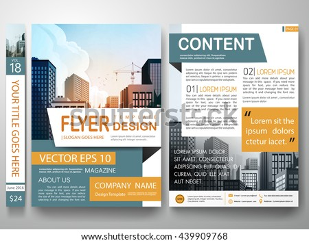 Flyers design template vector. City concept on a4 layout.Cover book portfolio presentation. Green orange shape on poster. Minimal brochure report business magazine.