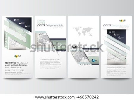 Flyers set, modern banners. Business templates. Cover design template, easy editable, flat layouts. Dotted world globe with abstract construction and polygonal molecules on gray background