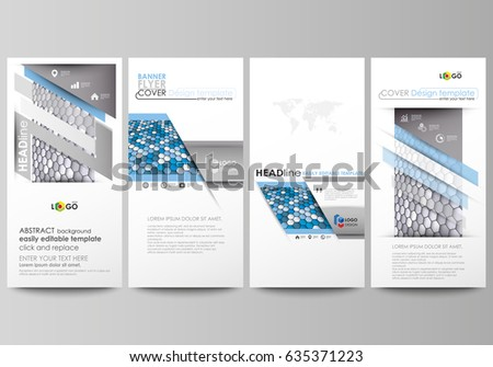 Flyers set, modern banners. Business templates. Cover design template, easy editable vector layouts. Blue and gray color hexagons in perspective. Abstract polygonal style background. #635371223