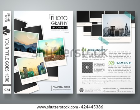 Shutterstock Flyers template vector. Photography brochure report business magazine poster. Cover book postcard minimal portfolio or presentation with picture design. Layout in A4 size.