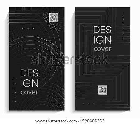 Flyers with abstract linear design. Linear shapes with circles. Ideal for advertising, presentations, invitations, reports, cards, etc. EPS 10 vector