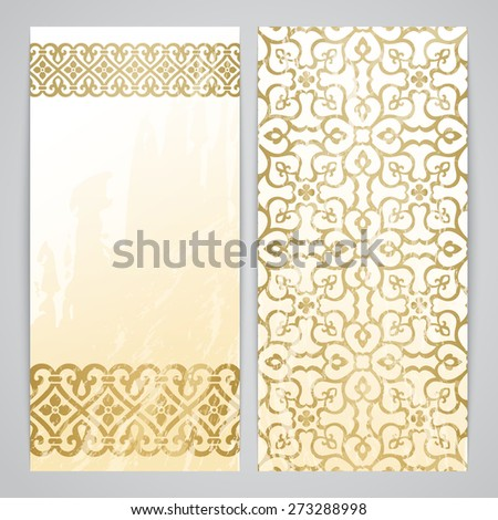 Flyers with arabesque decor - ottoman floral pattern in gold color