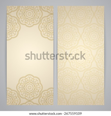 Flyers with floral decor - indian floral pattern in gold color