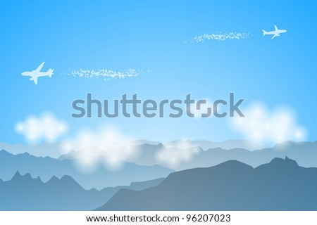 flying above mountains
