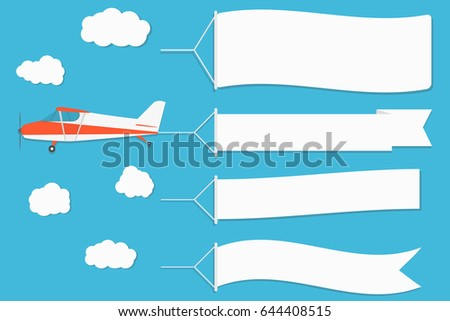 Flying advertising banner. Plane with horizontal banners on blue sky background. Vector